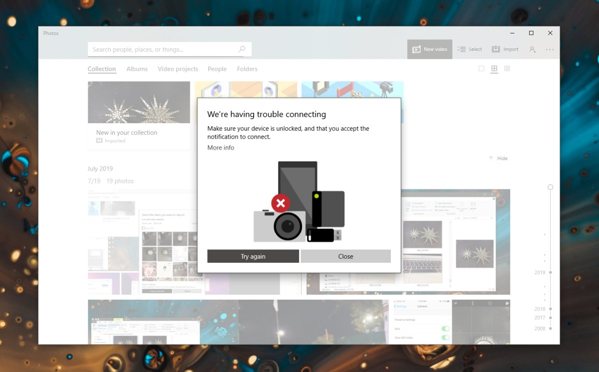 how to fix trouble connecting when importing in photos app on windows 10 How to fix 'Trouble connecting' when importing in Photos app on Windows 10