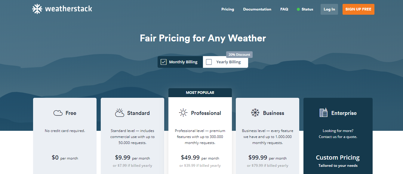 Weatherstack APIPricing and Signup Page