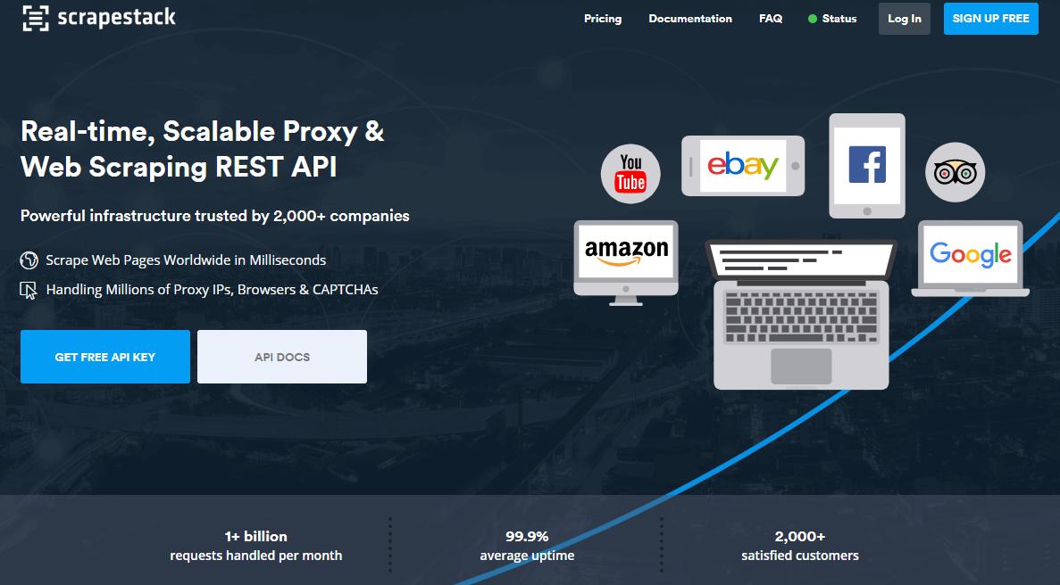 Scrapestack Home Page