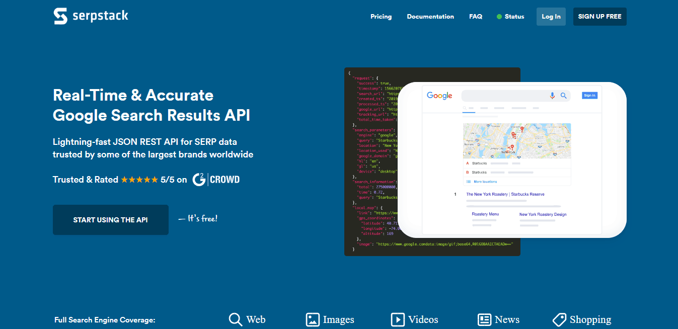 Serpstack Home Page