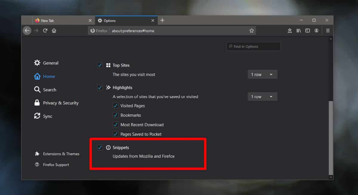 how to disable messages from firefox on the new tab page 1 How to disable Messages from Firefox on the new tab page