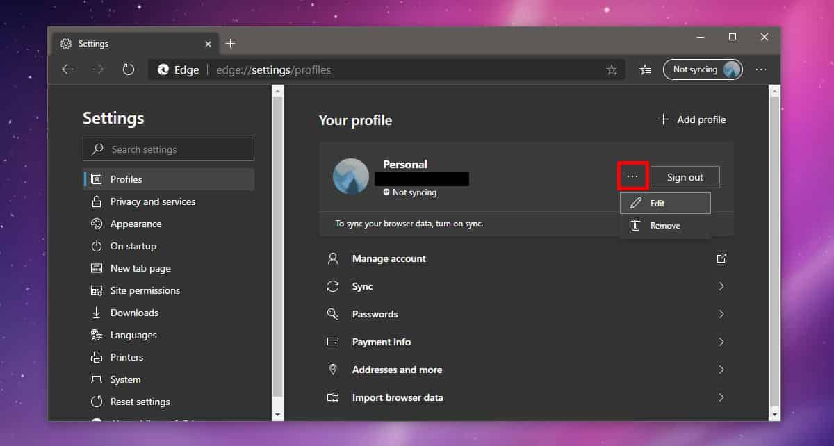how to change the profile name in chromium edge on windows 10 1 How to change the profile name in Chromium Edge on Windows 10