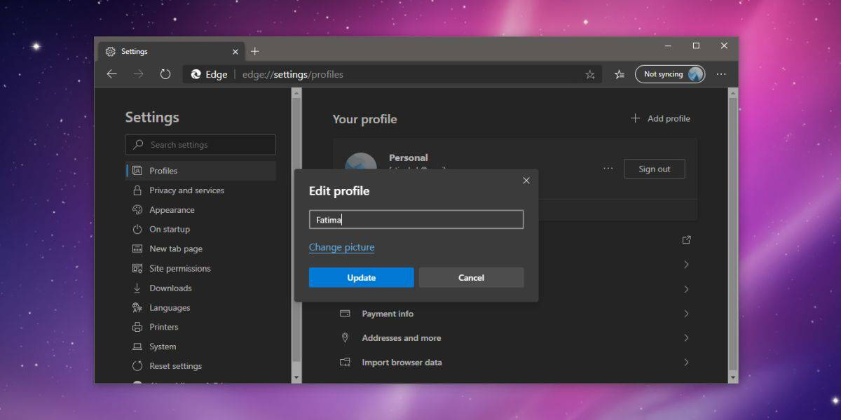 how to change the profile name in chromium edge on windows 10 2 How to change the profile name in Chromium Edge on Windows 10