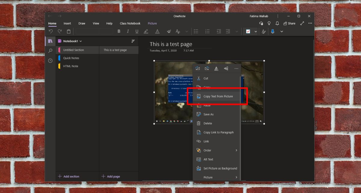 how to fix missing copy text from picture option in onenote on windows 10 1 How to fix missing 'Copy text from picture' option in OneNote on Windows 10