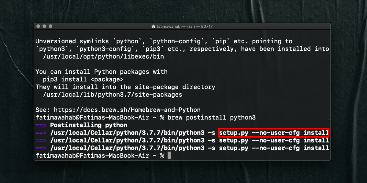 how to fix setup py no user cfg install error for pip on macos How to fix 'setup.py –no-user-cfg install' error for pip on macOS
