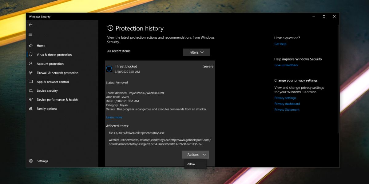 how to stop windows defender deleting an executable file on windows 10 1 How to stop Windows Defender deleting an executable file on Windows 10