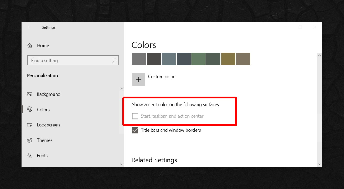 how to fix show color on taskbar greyed out on windows 10 How to fix show color on taskbar greyed out on Windows 10