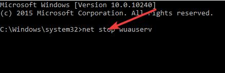 net stop wuauserv command