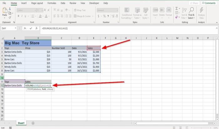 How to quackish DSUM inapposite deciduous Excel