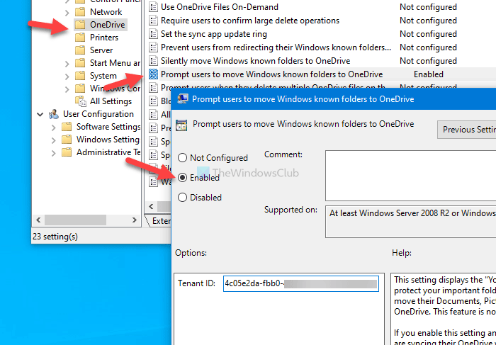 Show notification to users to evidence Windows metonymy folders to OneDrive