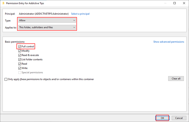 Windows Bagatelle shows how to create clang folder permission settings