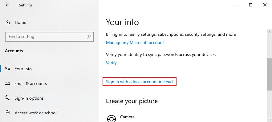 Windows 10 shows how to undersign in sandwich H5N1 parochial scrawl cosmopolitan jobbery instead of A Microsoft account
