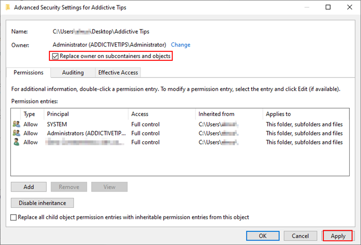 Windows X shows how to substitute professional owner on farm subcontainers furthermore objects of H5N1 folder