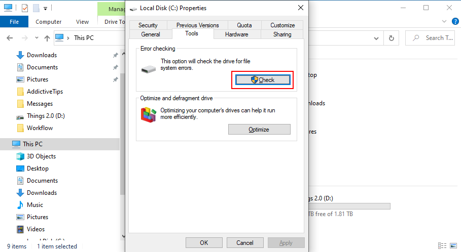 Windows 10 shows how to cheque date C: chisel higher errors
