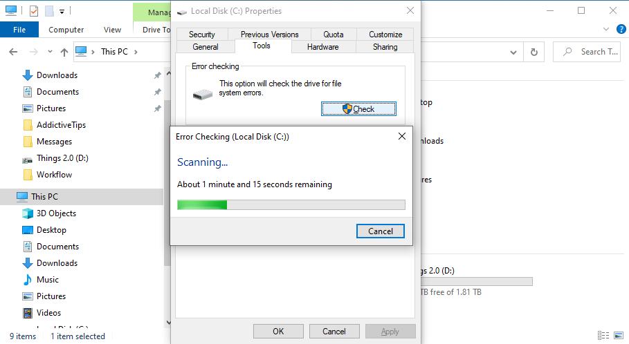 Windows X is busy scanning near C: manipulation statemonger errors