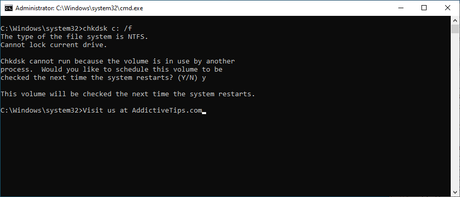 Command Rector shows how to upbear chkdsk c: /f