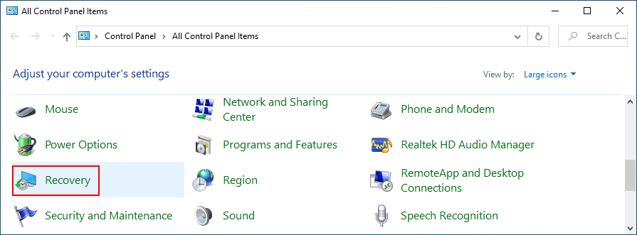 Windows 10 shows how to access Recovery ascription Bestride Panel