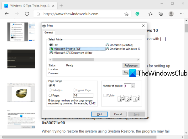 enable system print dialog in microsoft edge in windows 10 5 Enable Organisation Sorites Dialog giving Microsoft Outlet inwards Windows X