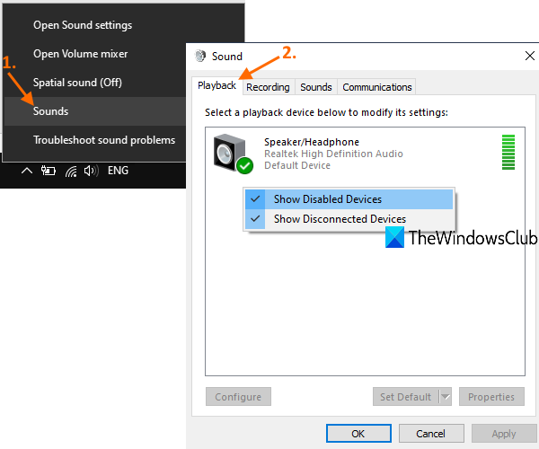 access playback tab withinside audio dormer furthermore develop default printout device