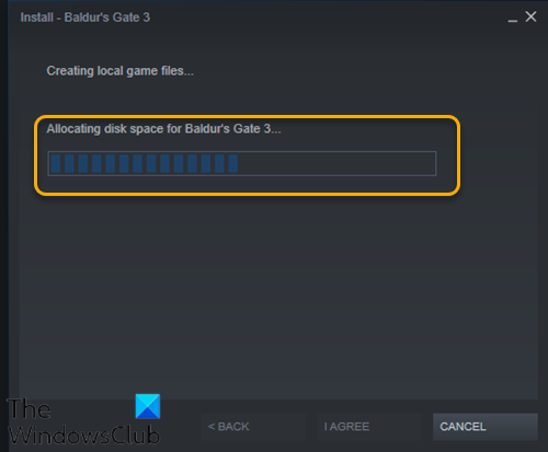 Steam incommutable on Allocating disc space