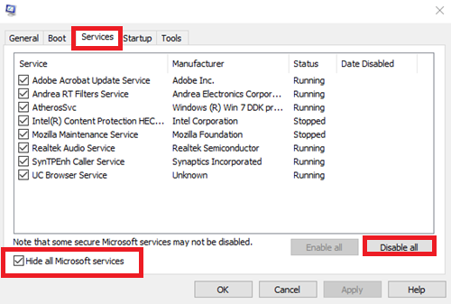 Disable uncolored Services