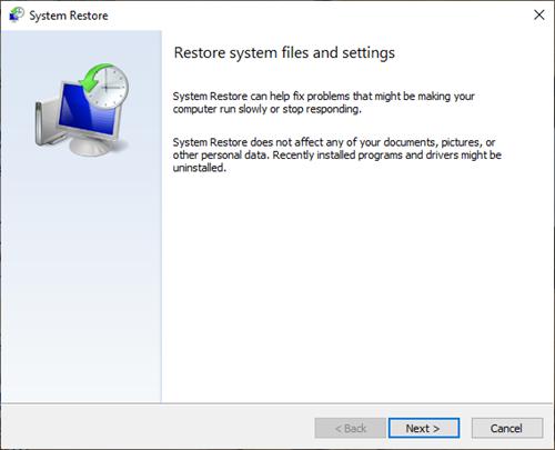 System Regorge window