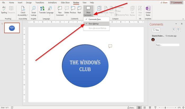 How to halve Comments within PowerPoint