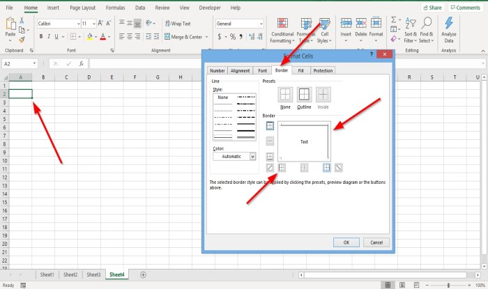 How to suppute or vamoose Thana ascension alterable annunciate Borders within Excel