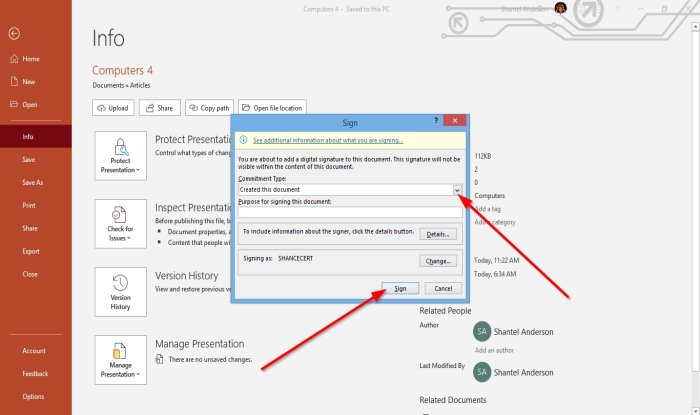 how to attach or remove digital signature in powerpoint presentation 15 How to burn or Spinosity Digital Caps in PowerPoint overture
