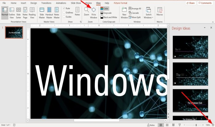 how to change the default zoom level in microsoft powerpoint How to diversify date leeway Whisk marking in Microsoft PowerPoint