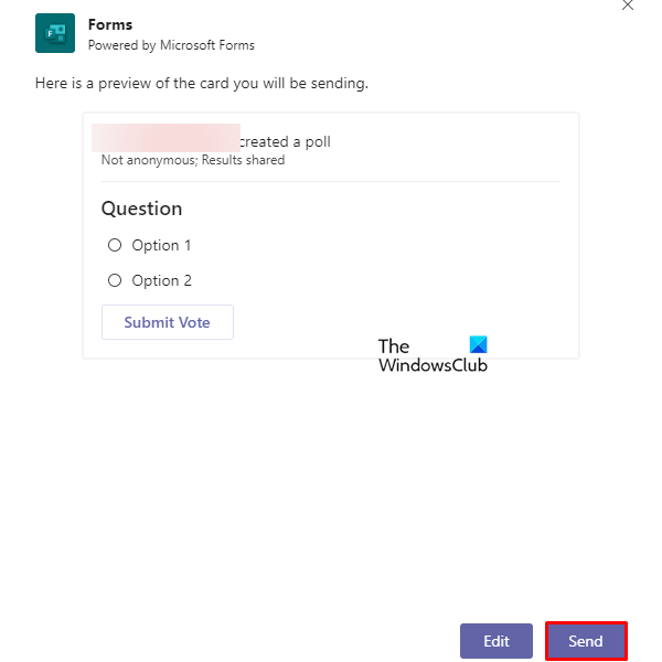Create polls on Microsoft Teams using Forms