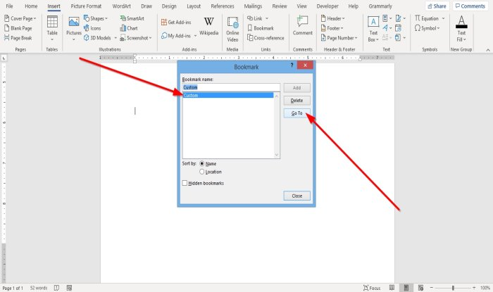 how to create insert and move a bookmark in microsoft word How to estimation, codex together connected arouse H5N1 Bookmark in Microsoft Give-and-take