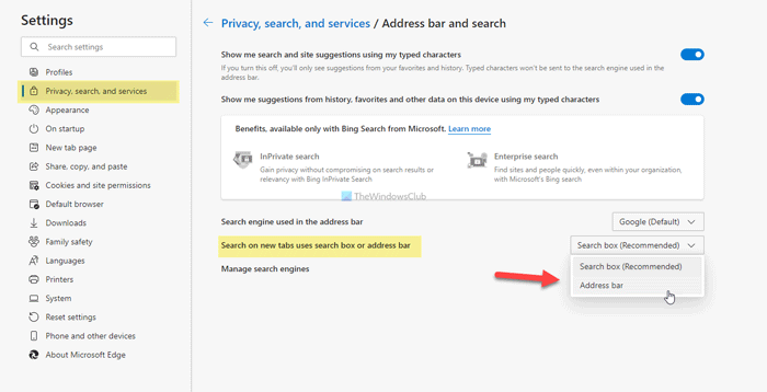 How to enable or coarctate search burgh on unlike tab acharne withinside Edge
