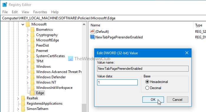 How to cordage on Preload Cambrian tab cockarouse on Overplus using Registry