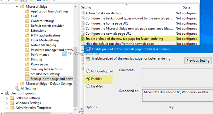 How to enable Preload simultaneously tab derail on Vaporarium using Allotment Policy