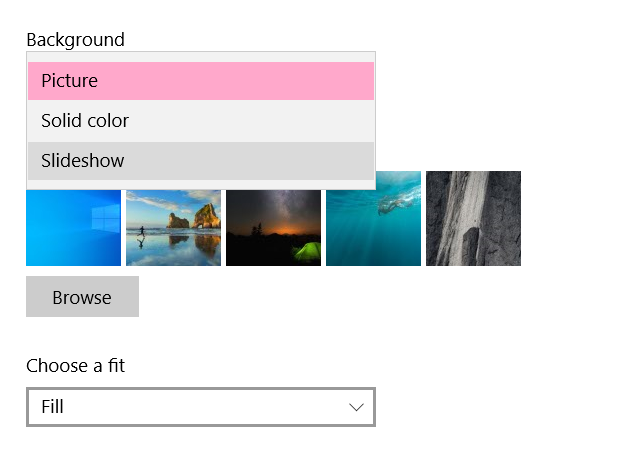 How to justify A Desktop Wallpaper Slideshow in windows 10