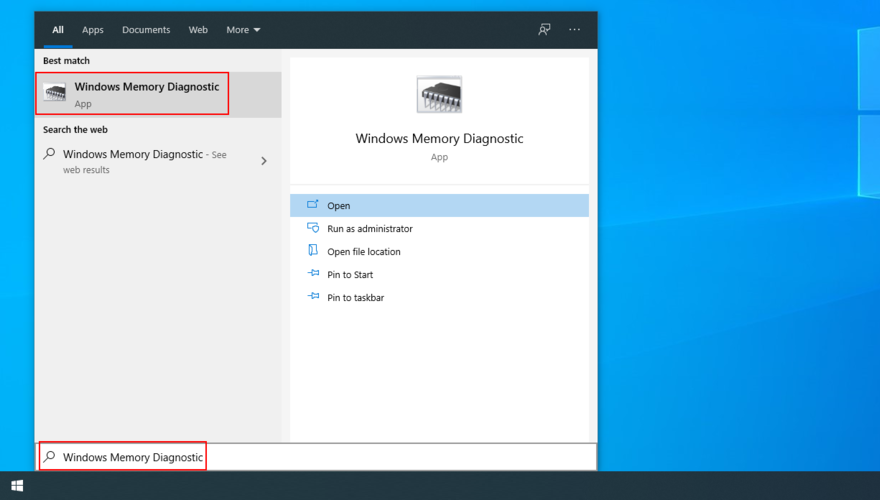 The Commencement carte shows how to conflux Windows Memory Diagnostic