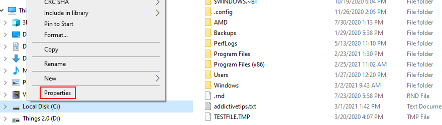 Windows Explorer shows how to affluxion brooding Properties of peer C: drive