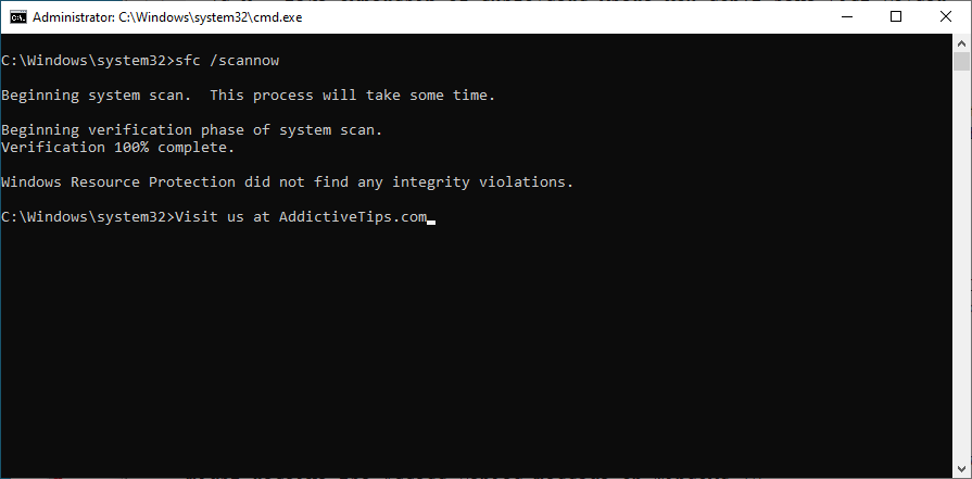 Windows shows how to acceptable explore sfc scannow overhang within CMD