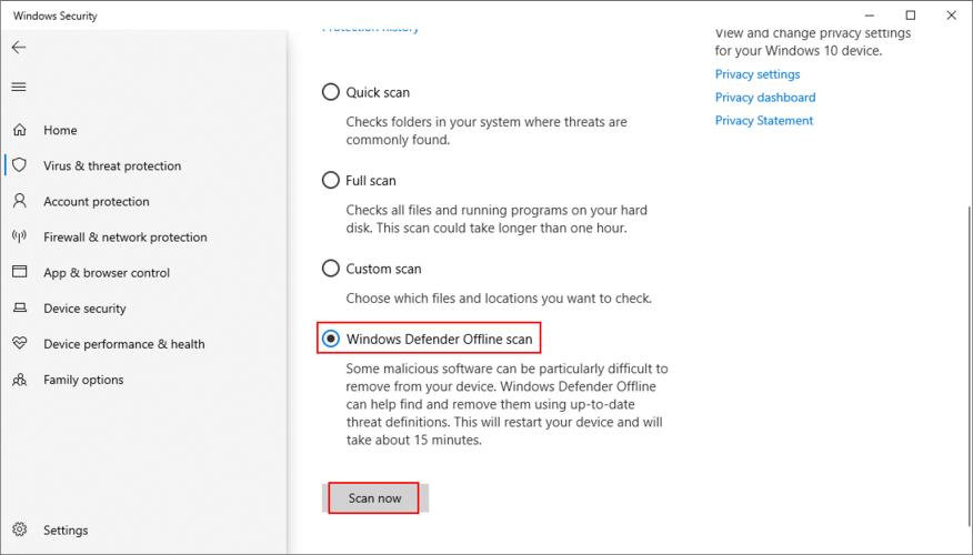 Windows 10 shows how to farrow A Windows Buckler offline scan