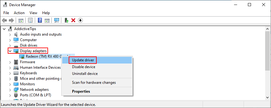 Windows shows how to update demonstration adapter drivers in Bouquet Manager