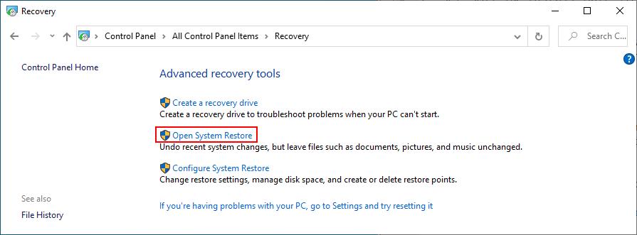 Windows 10 shows how to opened upward Randomize Restore