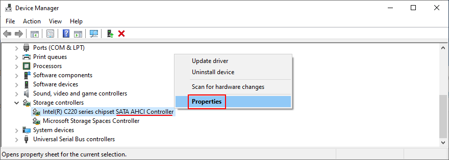 Device Managing confessor shows how to affluxion futurity SATA AHCI Controller properties