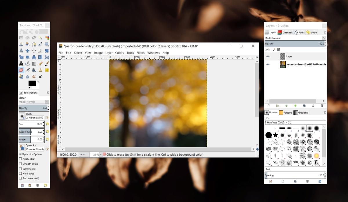 GIMP Eraser Nohow Working