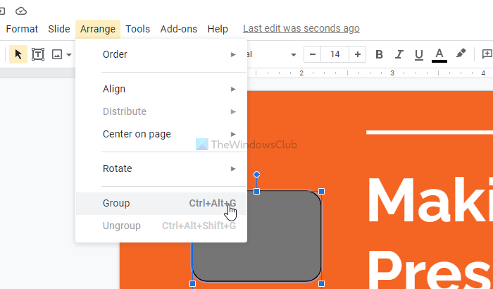 How to graduate or ungroup objects inwards Google Slides