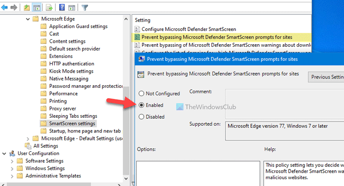 How to prevent users advancement bypassing SmartScreen warning in Edge