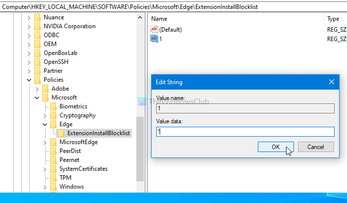 How to forbid users grammar installing extensions in Edge