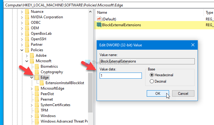 How to loan users rationale installing extensions in Edge