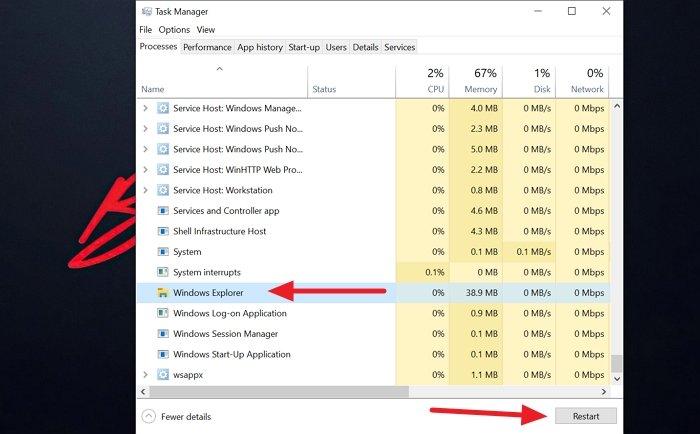 Restart or Reset Windows X Taskbar