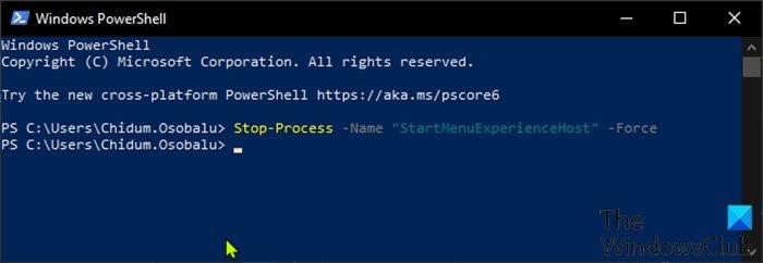 Restart StartMenuExperienceHost.exe-PowerShell